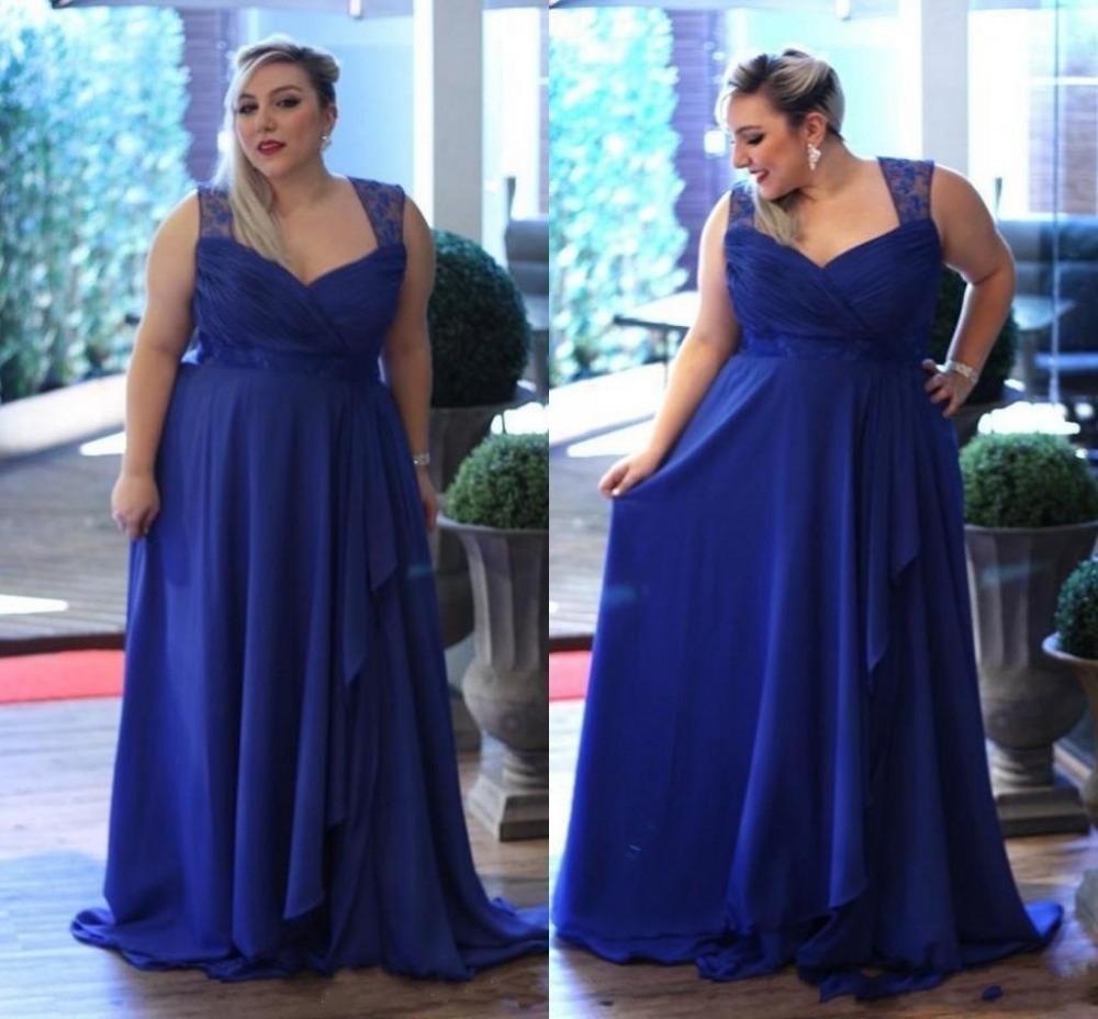 elegant plus size royal blue bridesmaid dresses lace
