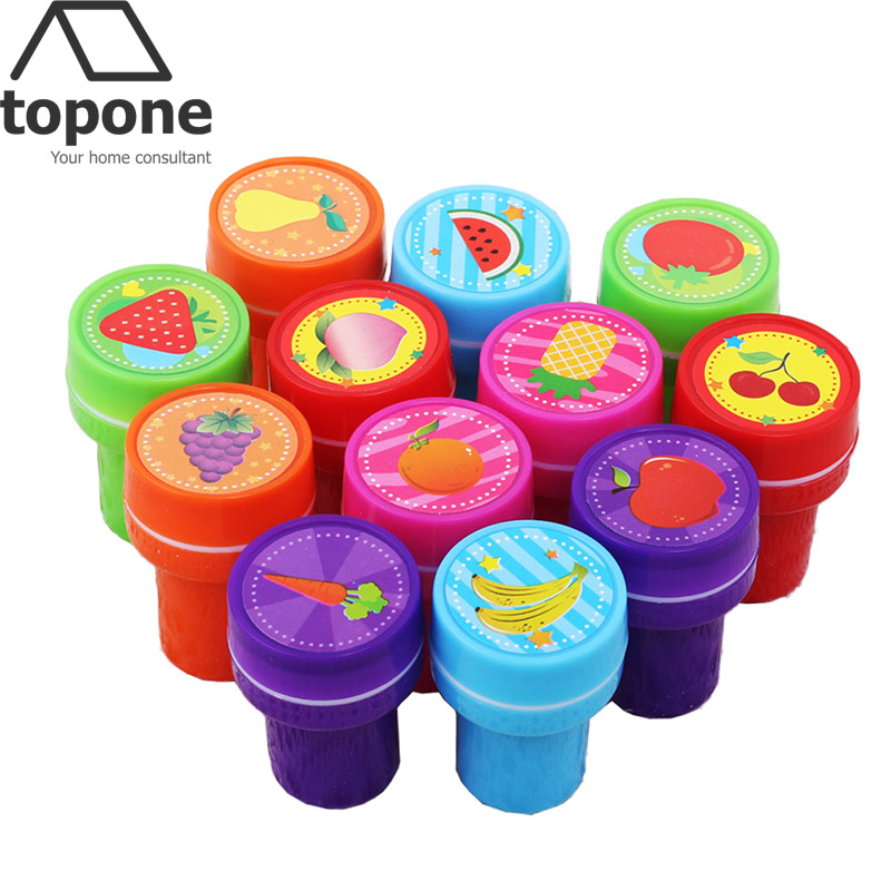 12 pcs Cute Fruit Pattern Cartoon Rubber Stamps Set Self Inking Decorative Rubber Stamps Set for Scrapbooking Gifs Toys for kid(China (Mainland))