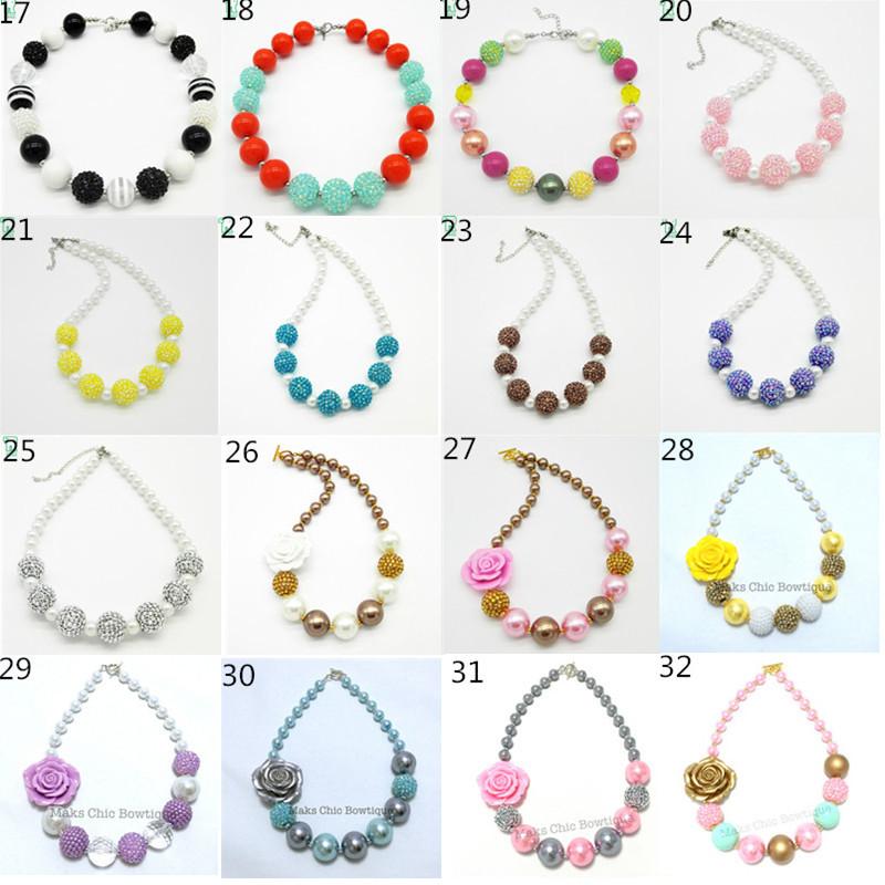 50pcs / lot Baby Flower Chunky Beads Necklace, Girls Bubblegum Beaded Necklace, Child pendant necklace, Kids Jewelry Wholesale(China (Mainland))