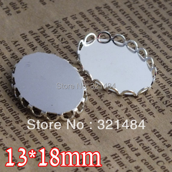 wholesale silver plated 500piece cameo cabochon setting 13*18mm oval bezel pendant base blank tray lace edge