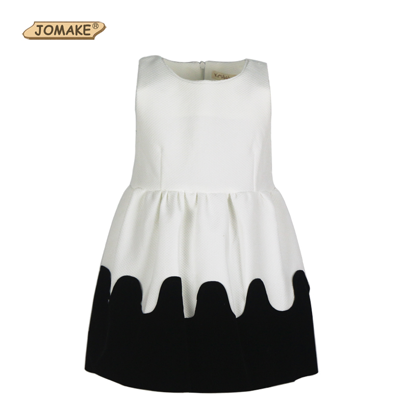 Classic Black and White European New Style Girls Dress Temperament Princess Party Dresses Necklace Sleeveless Baby Girl Clothing(China (Mainland))