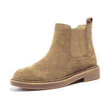 BeauToday Chelsea Stiefel Frauen Elastische Ankle Schwein Wildleder Brogue Boot Echtes Leder Qualität Marke Dame Schuhe Handgemachte 04016(China)