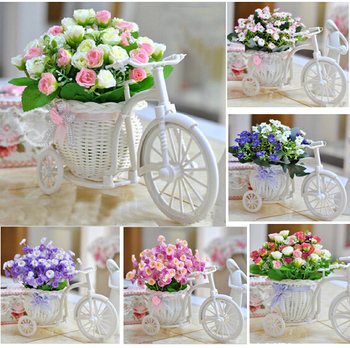 new arrival artificial flowers potted roses series rattan vase vintage romantic home decoration Autumn small ball tree