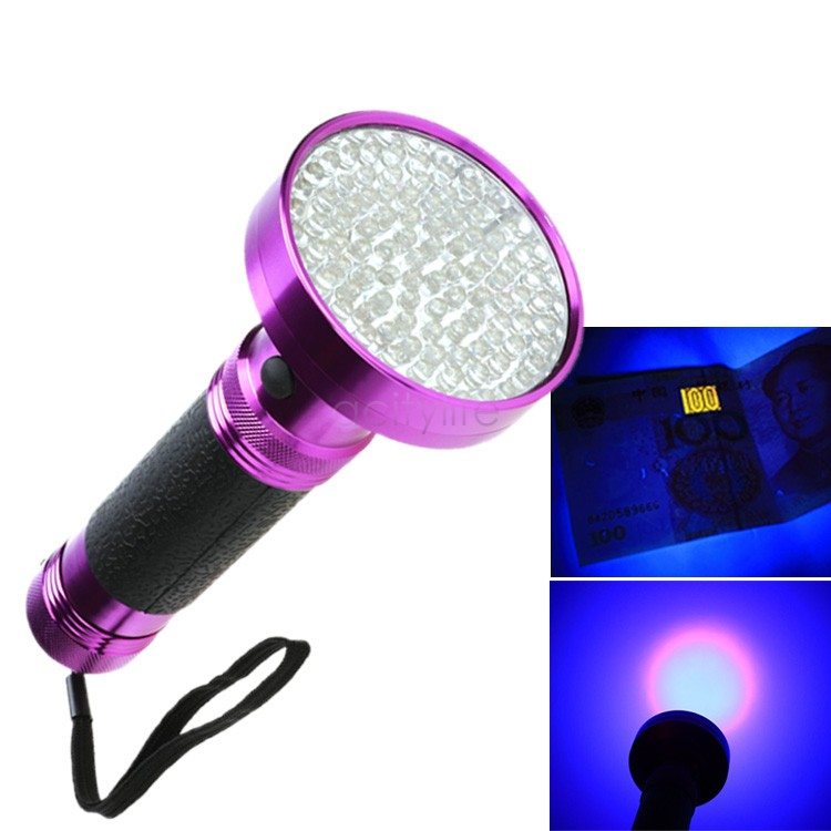 USA Dispatch Small Portable Wholesale 100 LED UV Flashlights Ultra Violet Blacklight 6*AAA Lampe Torche US51(China (Mainland))