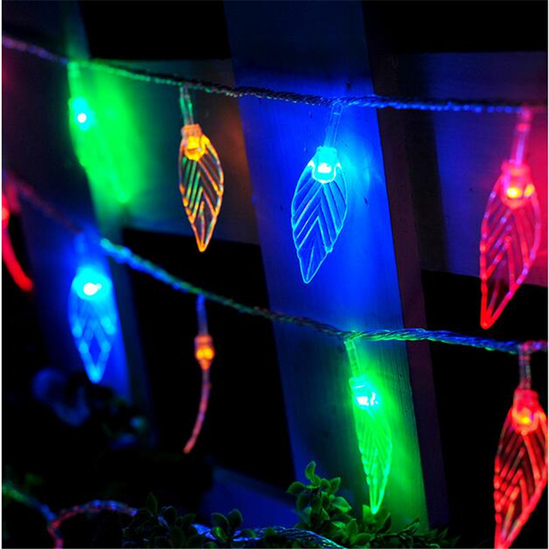 10M 50leds Changeable LED Christmas lights transparent green leaf 220V New Year/Wedding/birthday party lighting Decoration(China (Mainland))