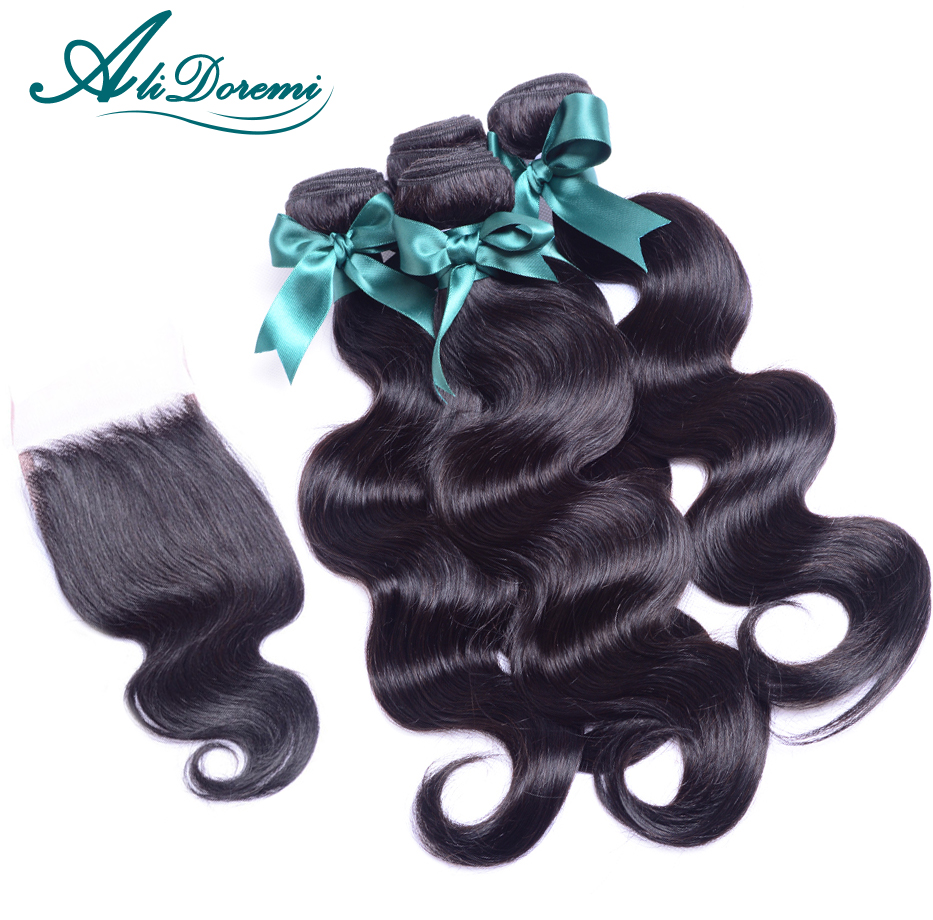Гаджет  5 Pcs/ Lot Peruvian Virgin Hair Body Wave With Closure Body Wave Lace Closure With human hair Bundles free style lace closure None Волосы и аксессуары