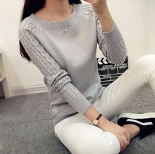 Winter Women Long Sleeve Gray Casual Cashmere Sweaters and Pullovers Female Lover Trendy Solid Pull Femme Best Knitted Sweater(China (Mainland))