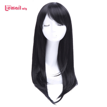 L-email wig 26 inch Long Black Cosplay Wigs Straight With Side Bang Anime Wigs Synthetic Hair For Sweet Girls(China (Mainland))