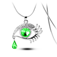 Summer ethnic jewelry 2015 Colares Femininos Eye Shape Color Imitation Gemstone Long Chain Drop Pendant Necklaces