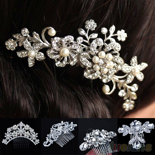 Bridal Wedding Flower Crystal Rhinestones Pearls Women Hair Clip Comb Diamante 012L(China (Mainland))