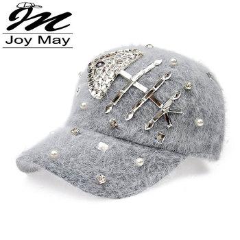 Free shipping fashion winter hat candy solid color Fish rabbit fur rhinestone baseball cap Women's Autumn and Winter cap W014