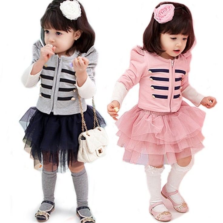 children's Kids Clothing spring autumn girls long-sleeved striped suit net veil set shirt+skirt - Online Store 923589 store