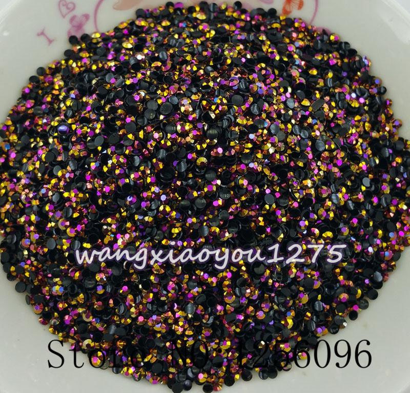 Free shipping 1000pcs 3D Nail Art Tips SS6 2mm Gold Rose jelly resin flat back crystal rhinestone Not Hotfix Use glue(China (Mainland))