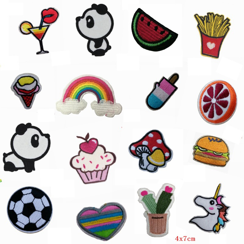 random mixed patch lot food embroidered appliques kids