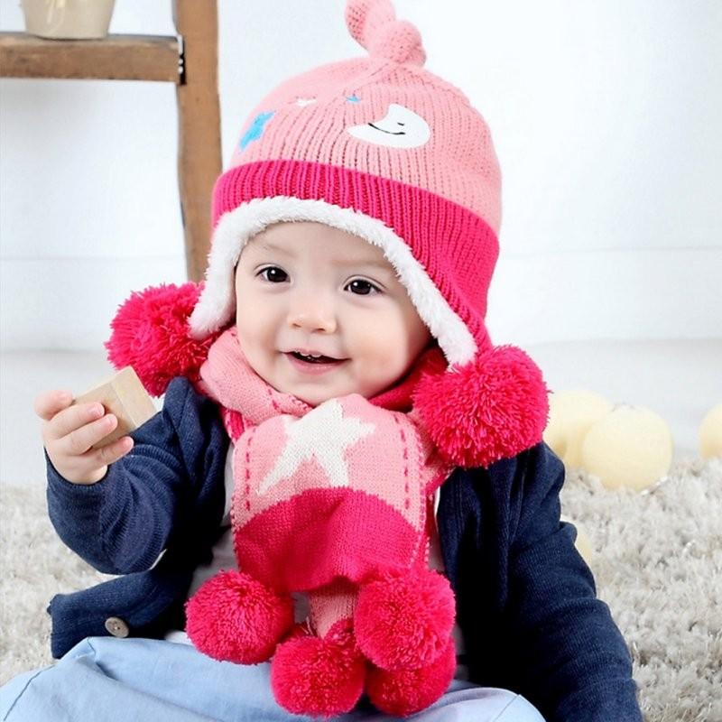 2pcs Toddler Infant Kids Girl Boy Baby Warm Thick Hat Cap + Scarf Scarves Set winter hat scarf glove