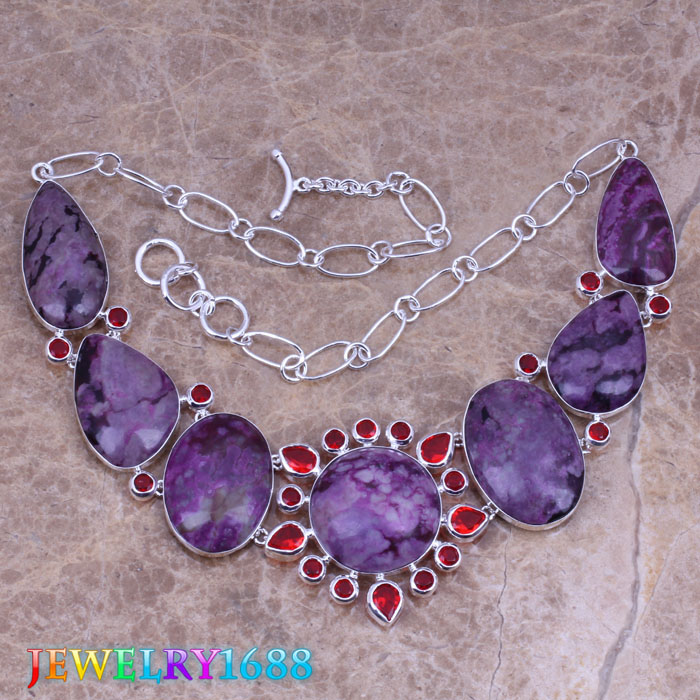 Dazzling Purple Natural Stone Red Garnet 925 Sterling Silver Overlay High Quality Grade Fashion Jewelry Necklace L577