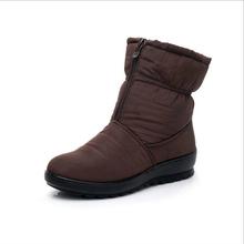 Förderung Frauen Stiefel Schnee Stiefel Frau Knöchel Plattform Keile Mode Slip-auf Wasserdichte Winter Neue Plus Samt Warme Schuhe frau(China)