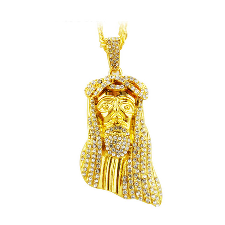 hip hop JESUS Christ Piece Head Face Pendant & Necklace with 31 Inches Chain for men man Real 24K Gold Rhinestone Jewelry W0772(China (Mainland))