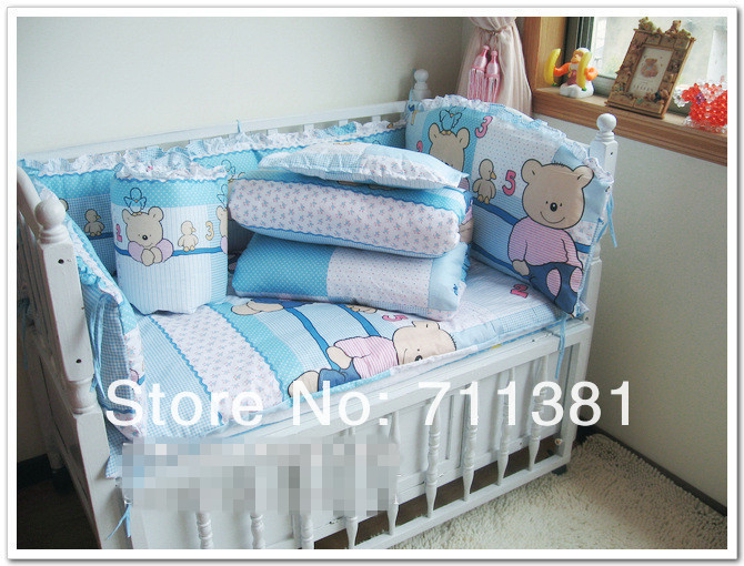 Free Shipping, Perfect Design 100% Cotton Bumper Crib Baby Bedding Set, Baby Bedclothes<br><br>Aliexpress