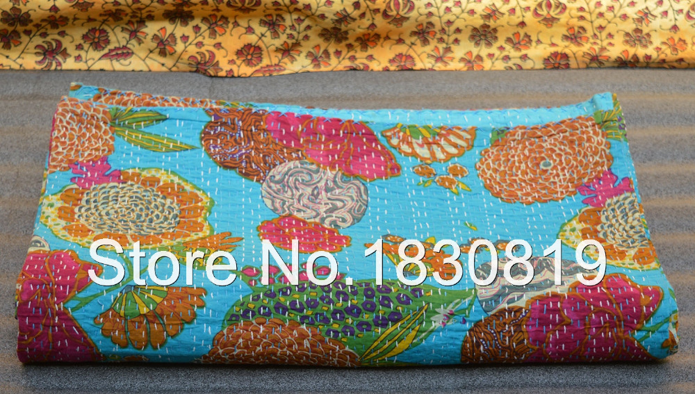 Bohemian Indian Floral Kantha Quilt, Reversible Bed sheet/Bedspread (KING Size, 100% Premium Quality)Perfect Gift for Home Decor