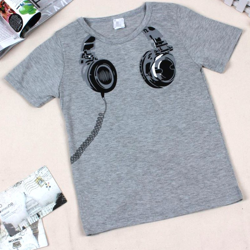 2016 Children Short Sleeve Girls Tops Summer Style Funny 3D Headphone Design Pattern Tees Clothes #30