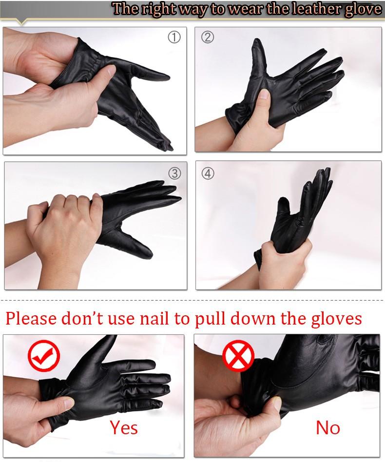 Hot Men Genuine leather gloves sheepskin gloves warm winter velvet handschuhe leather driving gloves (13)