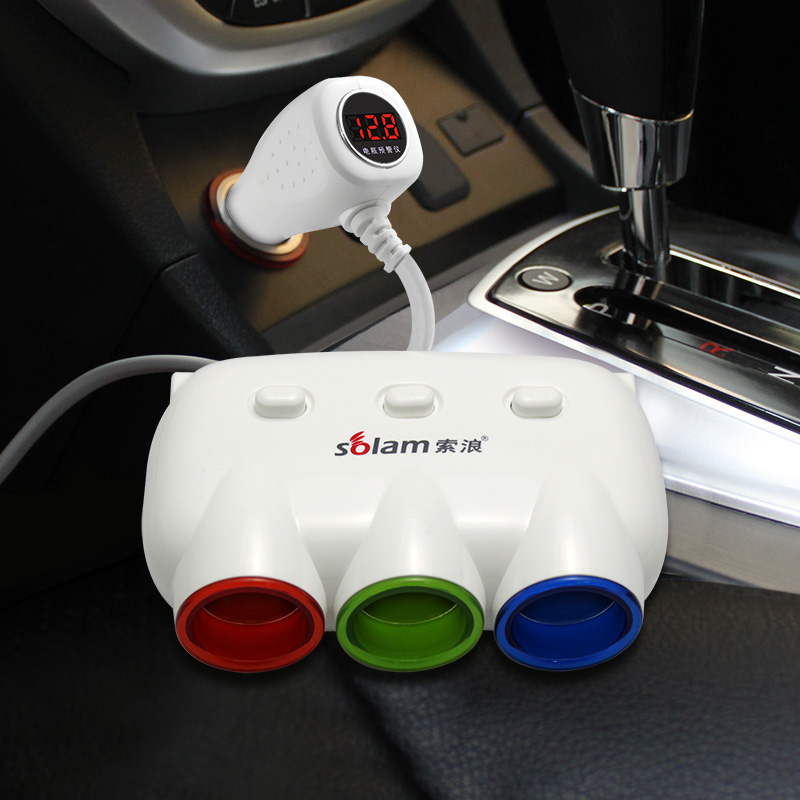 Free shipping A three cigar lighter with a switch car charger USB one two power(China (Mainland))