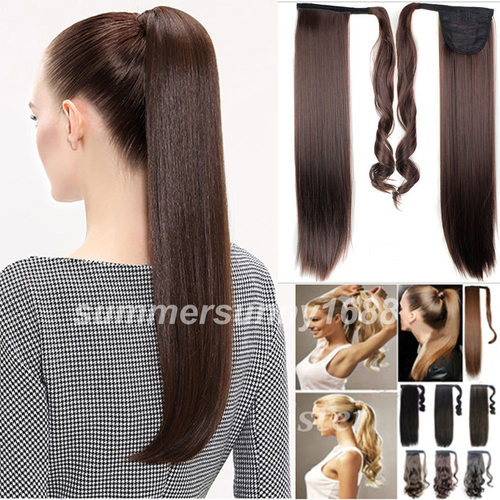 """Long Layered 24""""/60CM Straight Pony Tail Clip-On Hair Piece Extensions Wrap Around Ponytail 20 Colors(China (Mainland))"""