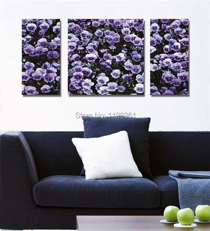 3 Piece Free Shipping Modern Wall Painting Abstract Sea of Flowers Purple Home Decoration Art Picture Paint on Canvas Prints(China (Mainland))