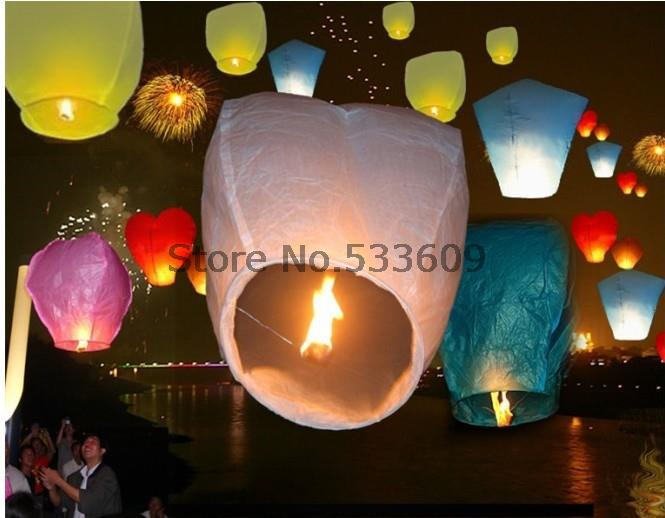 Fedex IE 500 pcs/lot pure color High Quality Flying Paper Lanterns, Sky Lanterns & Lanterns For Wedding(China (Mainland))