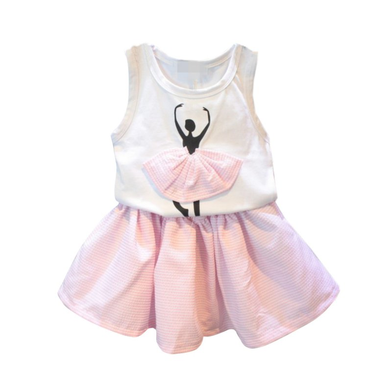 New 2016 Summer Baby Girl Clothing Sets Fashion Cotton Print Shortsleeve T-shirt Skirts Girls Clothes Sport Suits SS(China (Mainland))