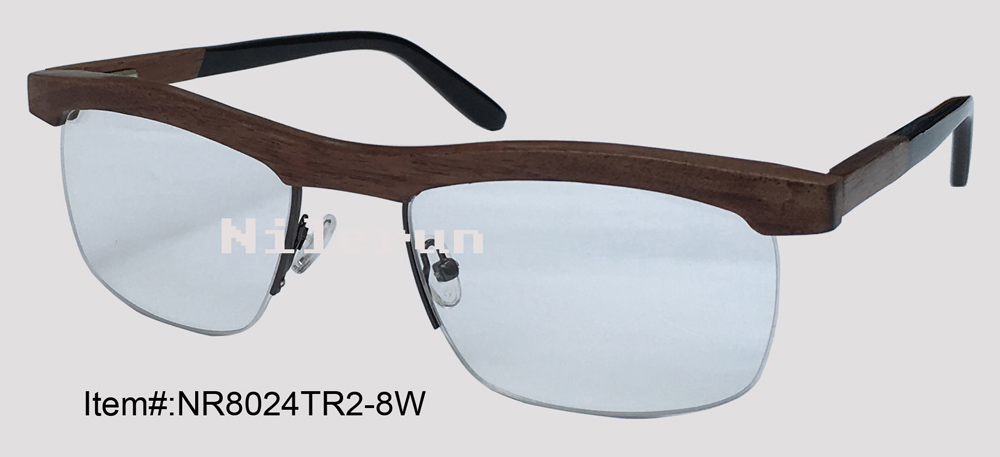 Half Frame Wood Glasses : black walnut wood half frame optical eyeglasses-in Eyewear ...