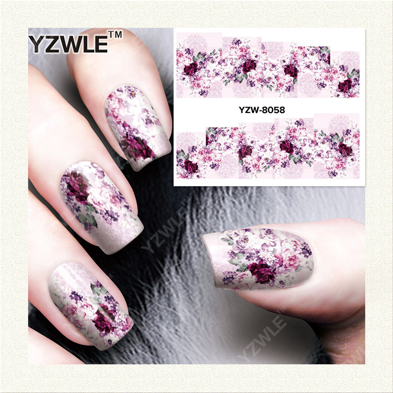 YZWLE 1 Sheet DIY Decals Nails Art Water Transfer Printing Stickers Accessories For Manicure Salon (YZW-8058)(China (Mainland))