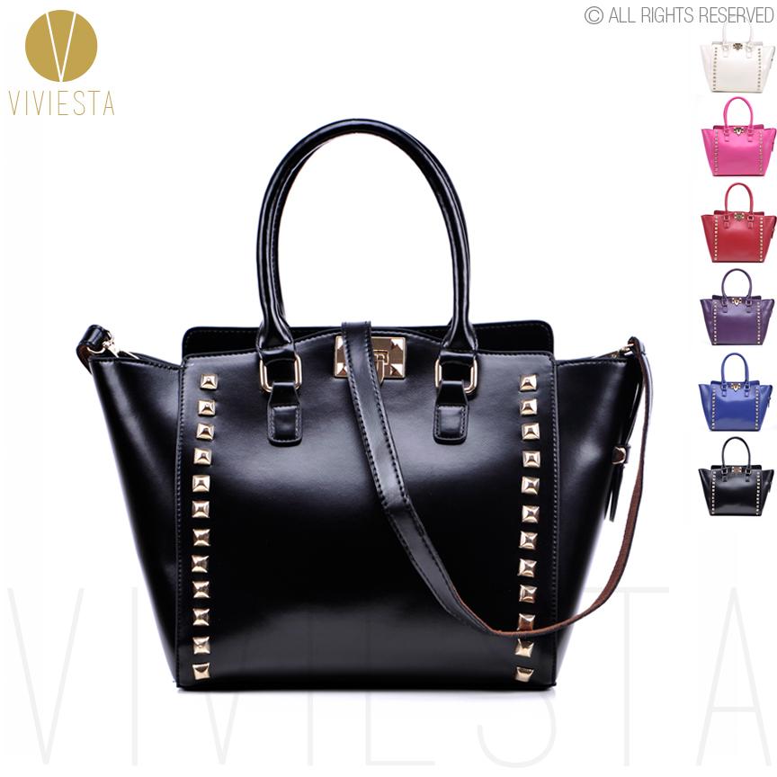 STUDDED CROSSBODY TOTE BAG - 2015 Women Designer Brand Gothic Punk Rock Stud Rivet Luggage Double Handle Shoulder Handbag Bolsa(China (Mainland))