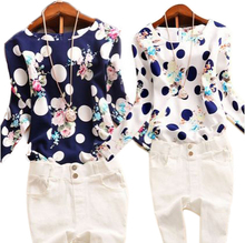 2015 Summer Casual Chiffon Shirts Sexy Deep round-Neck Women Blouses Blue White Long Sleeve Solid Tops Plus Size Loose Blusas(China (Mainland))