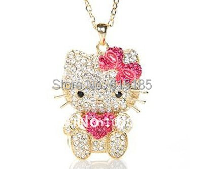 Free Shipping,hello kitty wholesale,hello kitty necklace cheap,hello kitty in pink free jewelry gift-1pcs/lot J00074(China (Mainland))
