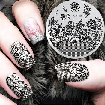 YZWLE New Black Flower Lace Design Nail Stamping Plates Konad Stamping Nail Art Nails Template Nail Stamp Tools #YZW-Z25