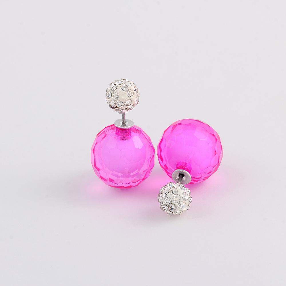 2016 Fashion Jewelry Double Pearl Earings Brincos Shambhala Balls Earrings for Women Pendientes Trendy Stud Earrings(China (Mainland))