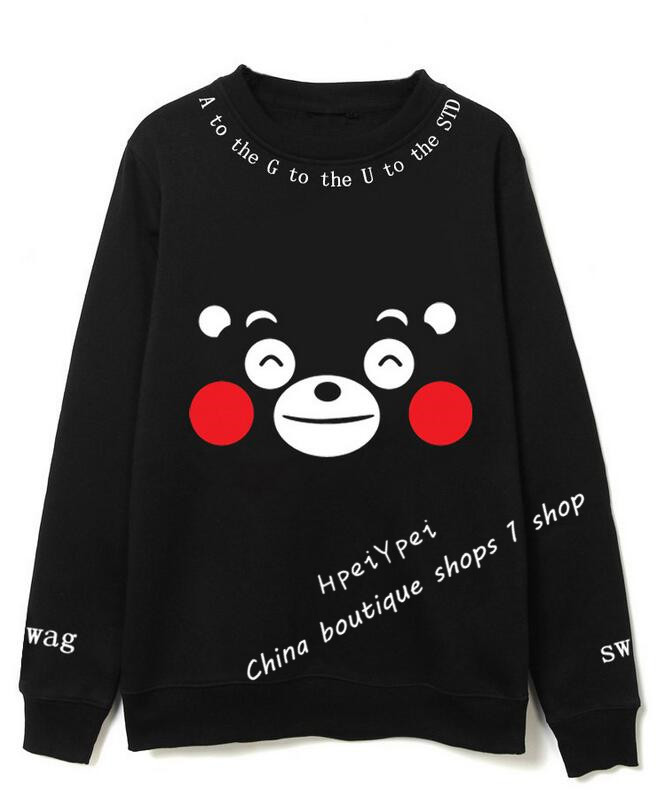 BTS bulletproof youth club suga paragraph with round collar kumamoto bear printed fleece single men/women lovers autumn fashion(China (Mainland))
