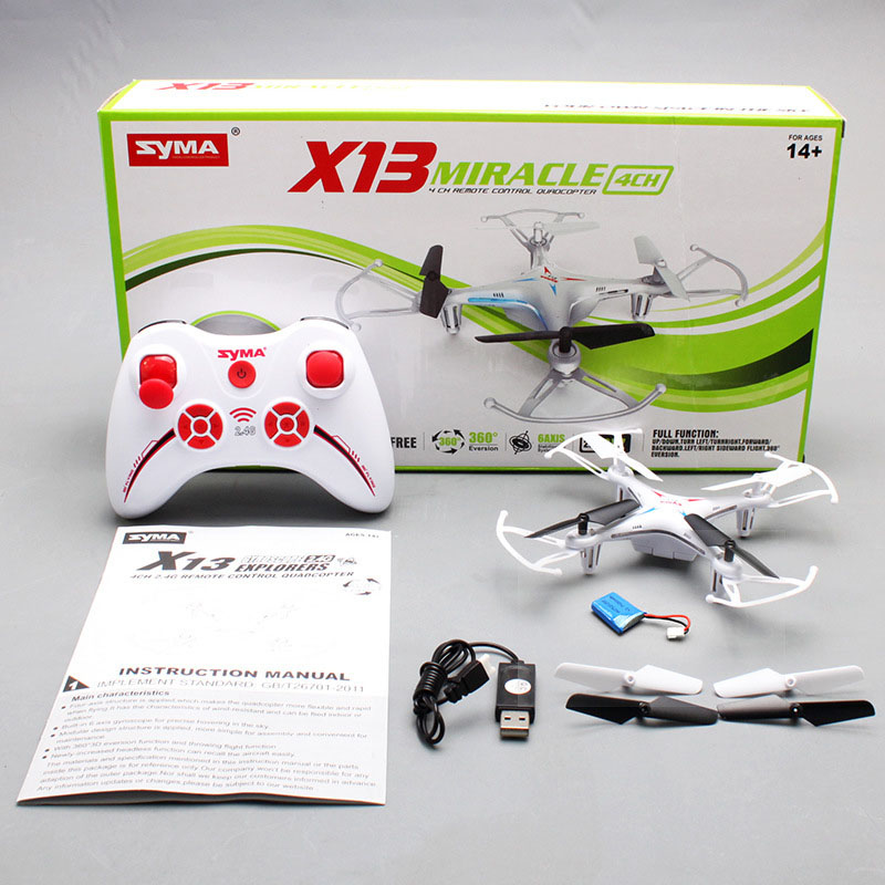 2016 Syma X13 MIRACLE GYRO 2.4G 4CH 6-Axis with 360 Degree 3D Eversion Function Mini RC Helicopter & Quadcopter Quad Copter RTF(China (Mainland))