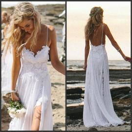 2014 spaghetti strap backless beach bridal gowns split for Flowing beach wedding dresses