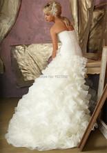 Vestido De Noiva 2015 Custom Made Elegant Pleat Ruffles Strapless Organza Wedding Dress Vestido De Casamento