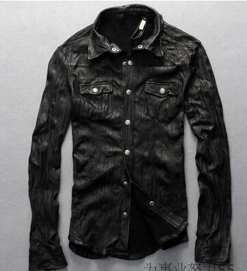 Fashion Classic Men's Shirt Collar Leather The Leather Motorcycle Clothing Men's Classic New(China (Mainland))