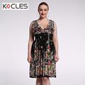 Plus Size 6 7XL Summer Women Bohemian Sexy Elegant Midi Tunic Flower Print Patchwork V Neck