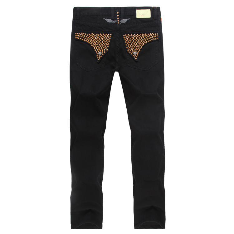 2015 Black Robin Jeans Mens Pants Famous Brand Robins Wings American Flag Plus Size 38 40 42 - Yuchen Store store