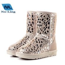 2016 nuevas mujeres del cuero genuino botas zapatos de la nieve moda alta calidad botas de invierno impermeables botas de nieve caliente de la vaca Muscl zapatos(China (Mainland))