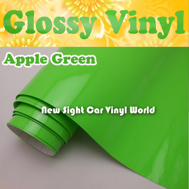 High Quality Apple Green Glossy Green Car Vinyl Film Air Free For Car Decals Size:1.52*30m/Roll(5ft * 98ft)