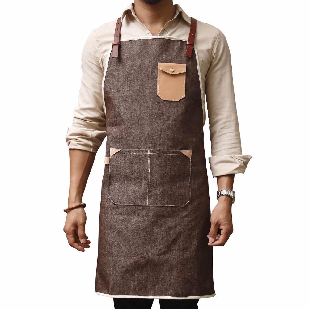 White tea apron - Personalized Custom Logo Leather Strap Cotton Deni