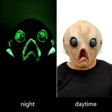 Halloween Props Scary Silicone Face Night Light Mask Alien Extra Terrestrial Birthday Party ET Horror Rubber Latex Masks - Love store
