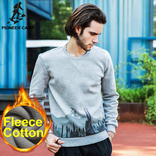 Pioneer CampFree доставка! 2016 новая мода мужская толстовки сгущает руно пуловер повседневная спорт пальто мужчины толстовка толстовка фитнес